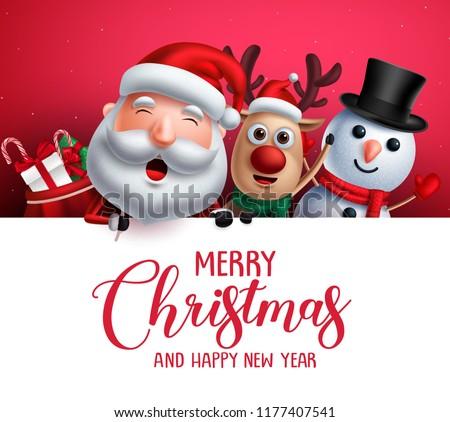 Merry Christmas Greeting Template Santa Claus Stock Vector Royalty