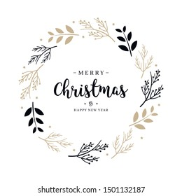 Merry Christmas greeting text branch wreath circle isolated background