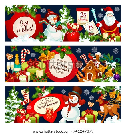 Merry christmas greetings best wishes banners stock vector royalty merry christmas greetings and best wishes banners for winter holiday design vector santa and snowman m4hsunfo