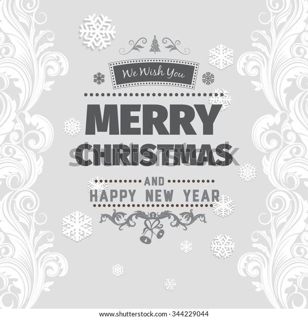 Merry Christmas Images Black And White.Merry Christmas Greetings Black White Card Stock Vector