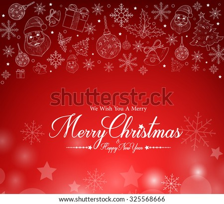 Merry christmas greetings card decor patterns stock vector royalty merry christmas greetings card in decor patterns and red snow background vector illustration m4hsunfo