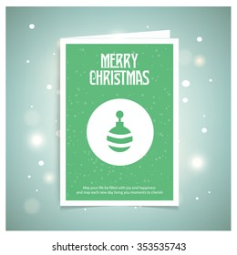 Merry Christmas Greetings Card Design with Snow Flakes