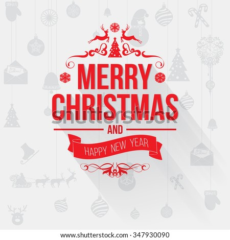 Merry christmas greetings card red letters stock vector royalty merry christmas greetings card with red letters on light gray background design elements for creating m4hsunfo