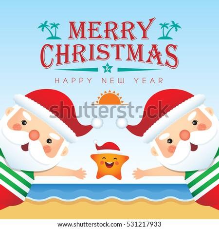 Merry christmas greetings cute cartoon santa stock vector royalty merry christmas greetings of cute cartoon santa claus wearing tank top short pants slipper m4hsunfo
