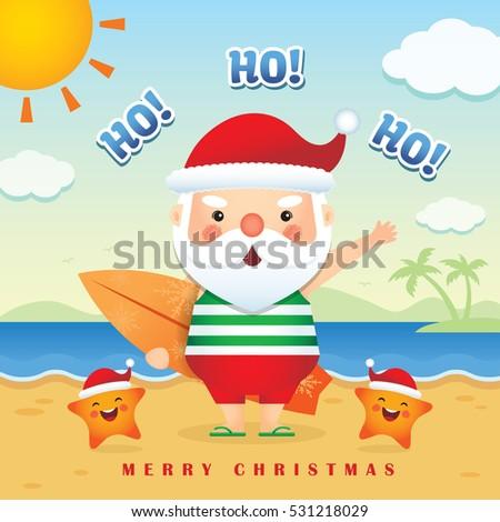 Merry christmas greetings cute cartoon santa stock vector royalty merry christmas greetings of cute cartoon santa claus wearing tank top short pants slippers m4hsunfo