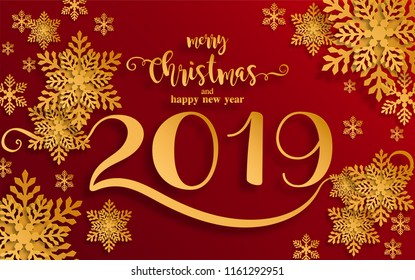 merry christmas greetings and happy new year 2019 templates with beautiful winter and snowfall patterned paper