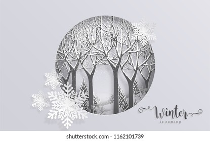 Merry christmas greetings and Happy new year 2019 templates with beautiful winter and snowfall patterned paper cut art and craft style on color background.