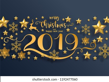 Merry christmas greetings and Happy new year 2019 templates with beautiful winter and snowfall patterned paper cut art and craft style on paper color background.