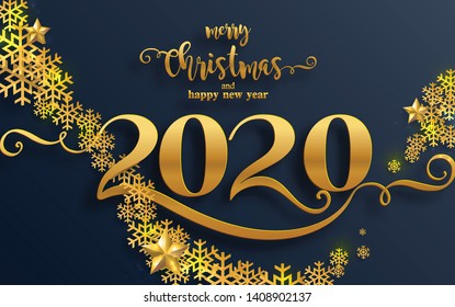 Merry christmas greetings and Happy new year 2020 year of the rat templates with beautiful winter and snowfall patterned paper cut art and craft style on paper color background.
