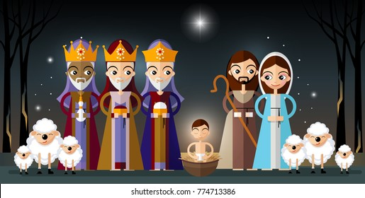 Merry Christmas greetings with jesus born with joseph and mary background in flat style.