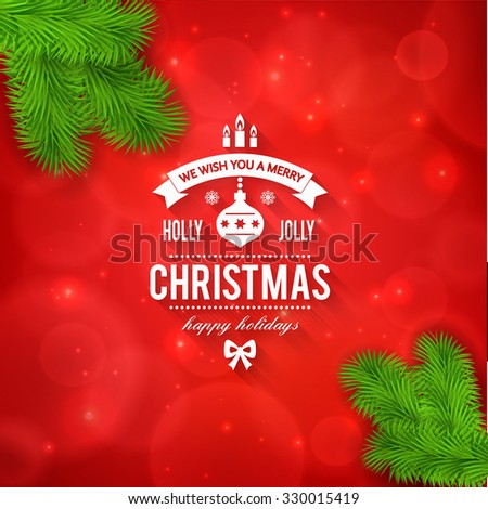 Merry Christmas Greetings Logo On Colorful Stock Vector Royalty