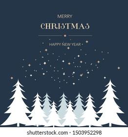 Merry christmas greetings trees silhouette stars night background.