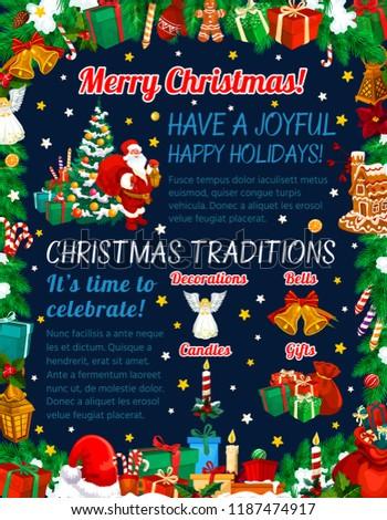 Merry Christmas Greetings Xmas Holiday Celebration Stock Vector ...