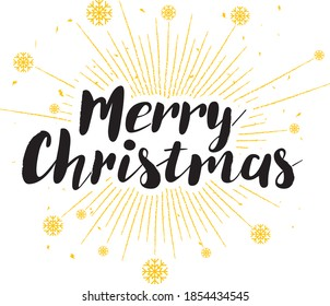 Merry Christmas grunge style lettering with snowflakes