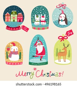 Merry Christmas gsnow ball with with Santa Claus, snowman, deer and hares