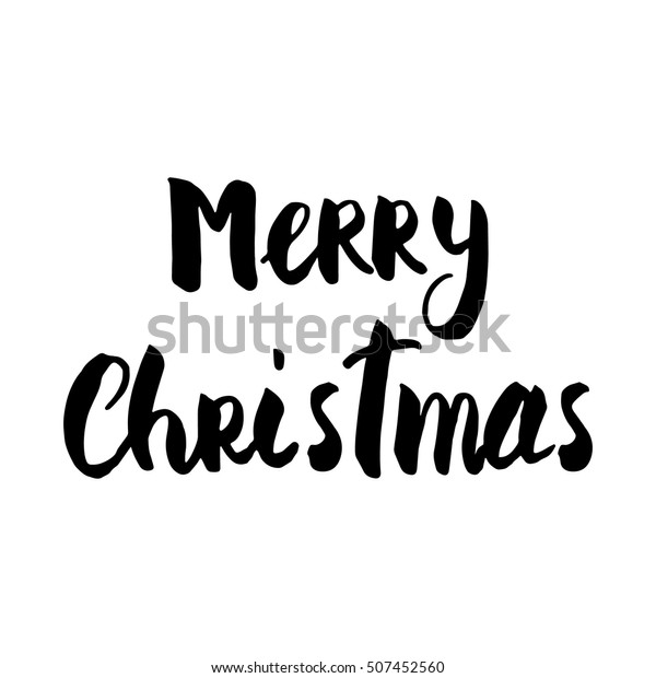 image relating to Printable Lettering titled Merry Xmas Hand Brush Lettering Xmas Inventory Vector