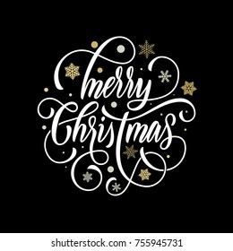 Merry Christmas hand drawn calligraphy lettering on golden snowflake ornament pattern background. Vector flourish typography for greeting card design of festive quote Christmas holiday text.