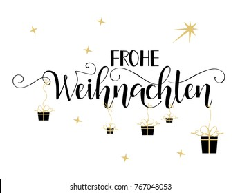 Merry Christmas hand drawn calligraphy lettering. German Text Frohe Weihnachten: Merry Christmas