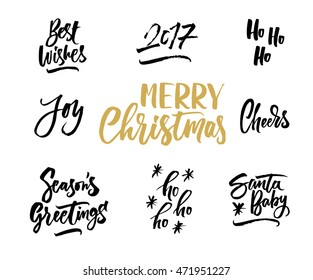 Merry Christmas. Hand drawn creative calligraphy and brush pen lettering. Can be used for cards, prints, posters, stamps, advertisement, blogs, banners, etc.