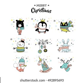 Merry Christmas hand drawn cute doodles, stickers, illustrations. Penguin, bear, owl, deer and unicorn