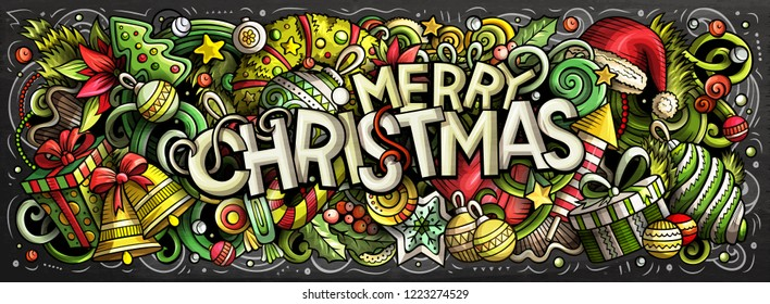 Merry Christmas hand drawn doodles horizontal chalkboard illustration. New Year objects and elements poster design. Creative cartoon holidays art background. Colorful vector drawing