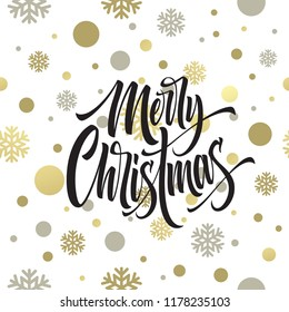 Merry Christmas hand drawn lettering. Xmas cursive calligraphy. Christmas lettering with grey snowflakes and golden confetti. Cover, poster, postcard seamless design. Isolated vector illustration