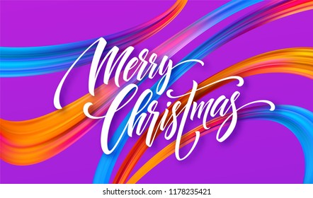 Merry Christmas hand drawn lettering banner design. Xmas greeting with rainbow acrylic ribbons. Vivid oil paint brush strokes. Merry Christmas calligraphy on purple background. Isolated vector