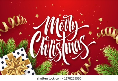 Merry Christmas hand drawn lettering greeting card design. Xmas calligraphy with realistic fir branches and present. Christmas golden scroll ribbons, stars, confetti on red background. Isolated vector