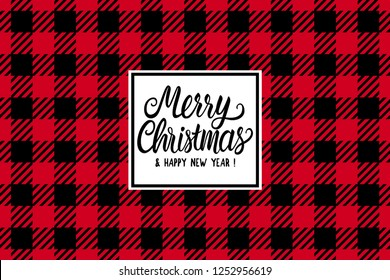 Merry Christmas hand drawn lettering text inscription. Vector illustration Checkered black and red seamless pattern Wide background. Holiday Happy New Year Greeting Design Card