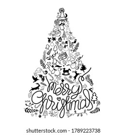 Merry Christmas hand drawn lettering with ornaments doodle for decoration in shape of pine tree on white background. vector illustration