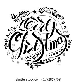 Merry Christmas hand drawn lettering with ornaments doodle for decoration on white background. vector illustration