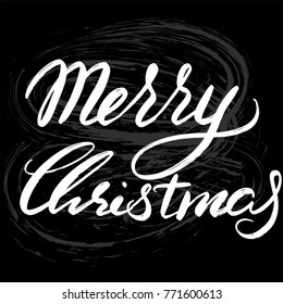 """Merry Christmas hand drawn lettering for designing greeting card, banner, poster, Christmas promo, printing, website. Quota """"Merry Christmas"""" vector illustration isolated on black background"""