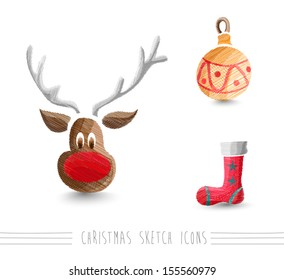 Merry Christmas hand drawn reindeer and winter elements set. EPS10 vector file organized in layers for easy editing