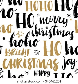 Merry Christmas hand drawn seamless background with calligraphy. Handwritten modern brush lettering. Dry brush and rough edges ink doodle illustration. Abstract vector pattern.