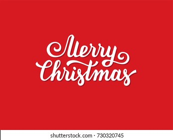 Merry Christmas hand drawn text, font, type composition. Calligraphy lettering xmas greeting card, banner or poster design on red background.