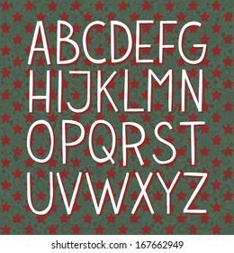 Merry Christmas hand drawn vector full alphabet. The vector Roman alphabet.