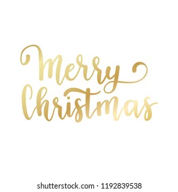 Merry Christmas hand lettering calligraphy isolated on white background. Vector holiday illustration element. Golden eve inscription text