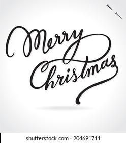 MERRY CHRISTMAS hand lettering -- custom handmade calligraphy, vector (eps8)