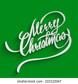 Merry Christmas Hand lettering Greeting Card. Typographical Vector Background. Handmade calligraphy. 3d Text with Shadow