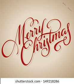 MERRY CHRISTMAS hand lettering -- handmade calligraphy, vector (eps8)