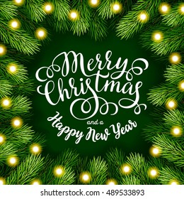 Merry Christmas hand lettering inscription with frame of fir branches