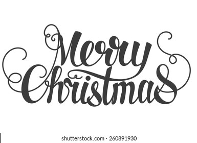 Merry Christmas hand lettering isolated on white. Vector image.