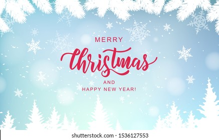 Merry Christmas hand lettering on blur background with snowflakes. Typography for Christmas and winter holidays greeting card, invitation, banner, postcard, web, poster template. Vector.