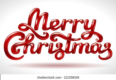 Merry Christmas hand lettering signature (red)- vector illustration.