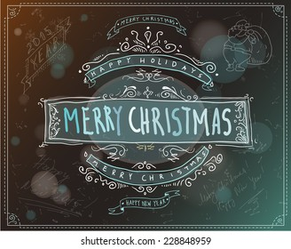 Merry Christmas hand-drawn label for a Christmas card or emblem EPS 10