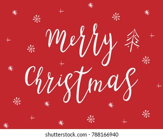 Merry Christmas handdrawn lettering. White text with snowflakes isolated on red background. Christmas holidays typography. Calligraphy vector illustration