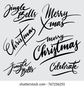 Merry christmas handwriting calligraphy. Good use for logotype, symbol, cover label, product, poster title or any graphic design you want. Easy to use or change color