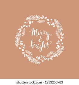 Merry Christmas.  Handwriting inscription  with  mistletoe, ,christmas wreath, conifers:  fir, larch, juniper, pine, spruce.  Unique  hand drawn winter  design  . Xmas.  Vector illustration.
