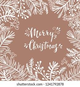 Merry Christmas. Handwriting inscription  with  mistletoe, ,christmas wreath, conifers: fir, larch, juniper, pine, spruce. Unique  hand drawn winter  design .   Xmas.Vector illustration.