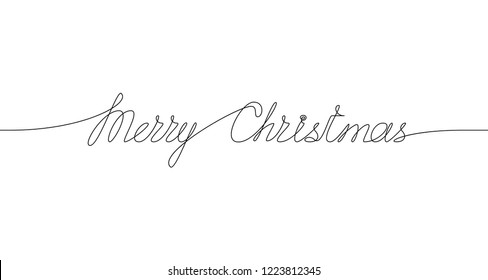 MERRY CHRISTMAS handwritten inscription. Hand drawn lettering. One line drawing of phrase. Vector.